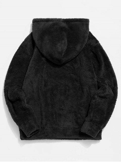 Abbildung Muster Solide Flauschige Hoodie - Schwarz 2XL Mobile