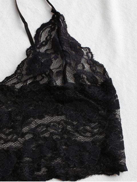 蕾絲緞面面板短睡衣套裝 - 鈷藍色 S Mobile