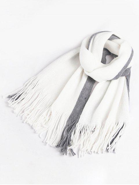 Quaste Stil Farbblock Schal - Grau  Mobile