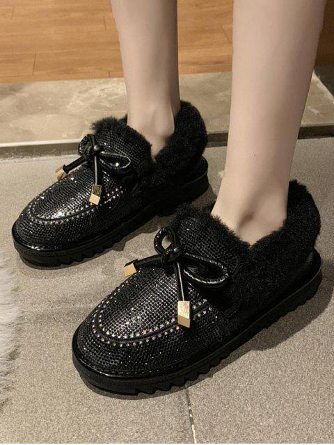 latest Bowknot Shiny Rhinestone Ankle Snow Boots - BLACK EU 40 Mobile