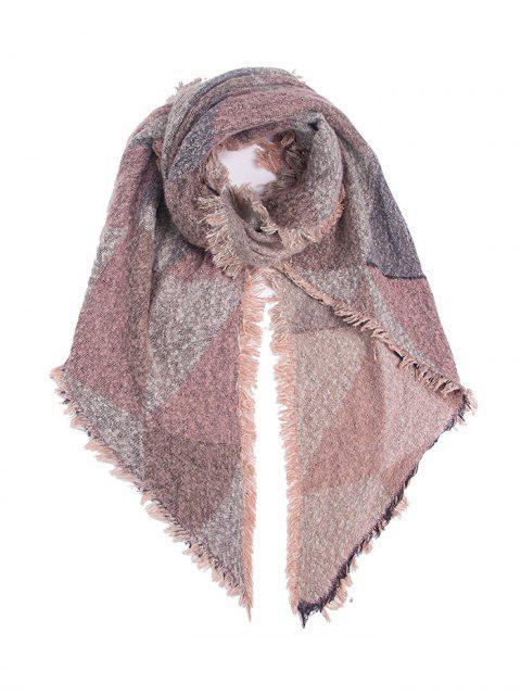 Geometrischer Muster Fransen Verzierte Schal - Rosa  Mobile
