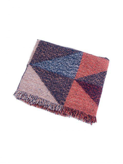 Geometrischer Muster Fransen Verzierte Schal - Rot  Mobile