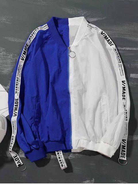 Buchstabenmuster Farbblock Reißverschluss Jacke - Weiß 2XL Mobile