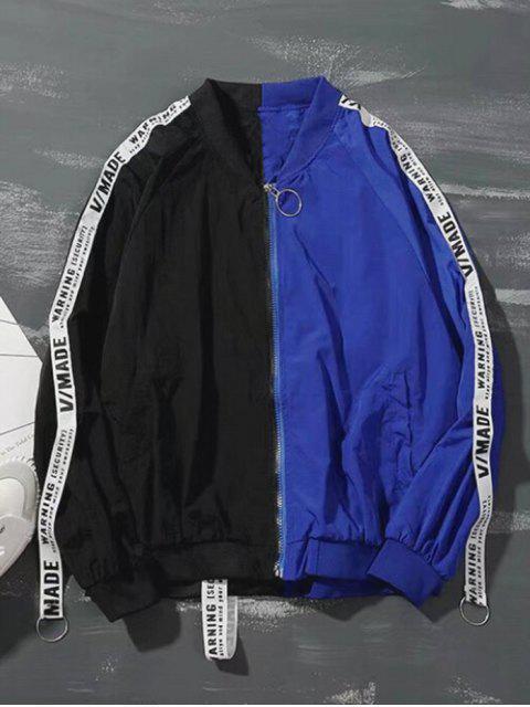 Buchstabenmuster Farbblock Reißverschluss Jacke - Schwarz 2XL Mobile