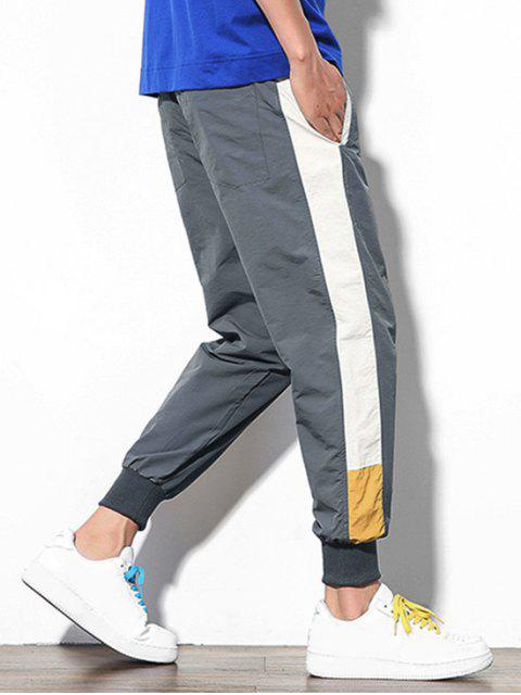 outfits Color Block Splicing Applique Casual Jogger Pants - DARK GRAY XS Mobile