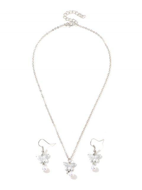 人造珍珠蝴蝶項鍊和耳環掛鉤 - 銀  Mobile
