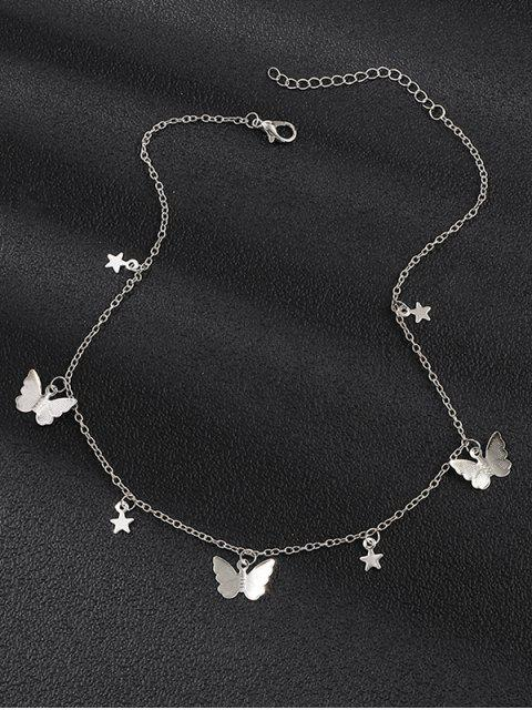 womens Metallic Star Butterfly Choker Necklace - SILVER  Mobile