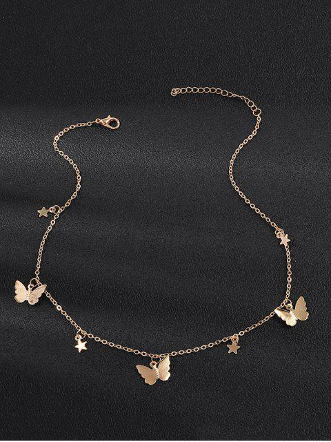 ladies Metallic Star Butterfly Choker Necklace - GOLD  Mobile