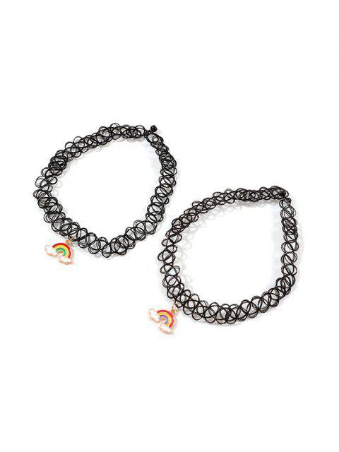 2件蕾絲彩虹吊墜項鍊項鍊 - 黑色  Mobile