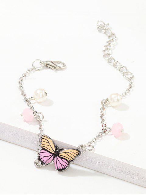 鏈蝴蝶造型吊墜手鍊 - 黃花  Mobile