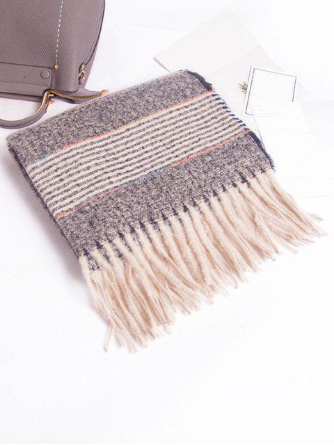 Winter Gestreifter Schal mit Fransen - Grau  Mobile