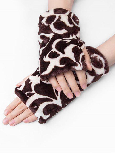 Перчатки С леопардовым принтом Без пальцев - Коричневый  Mobile