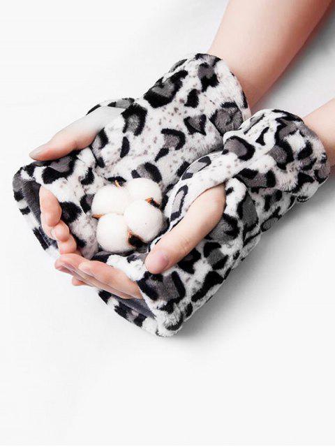 Flanell Leoparddruck Fingerlose Handschuhe - Grau  Mobile