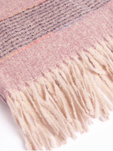 Зимний Вязаный Шарф С бахромой Полосатый узор - Розовый  Mobile