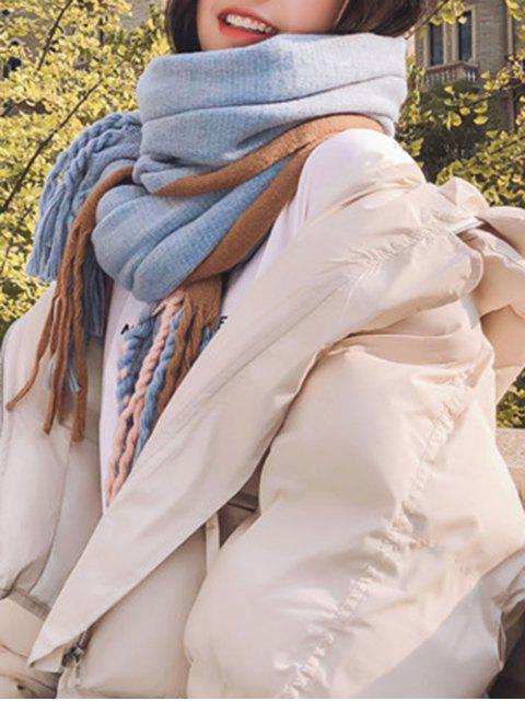 Écharpe Rayée Tordue en Blocs de Couleurs à Frange - Bleu Léger   Mobile