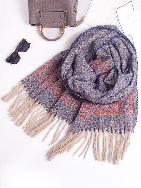 Winter Gestreifter Schal mit Fransen - Kadettenblau  Mobile