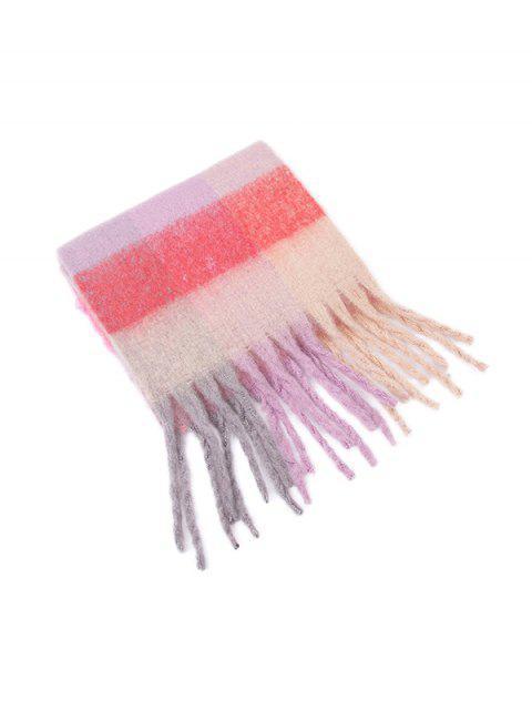 Bunte Karierte Fransen Langer Schal - Rosa  Mobile