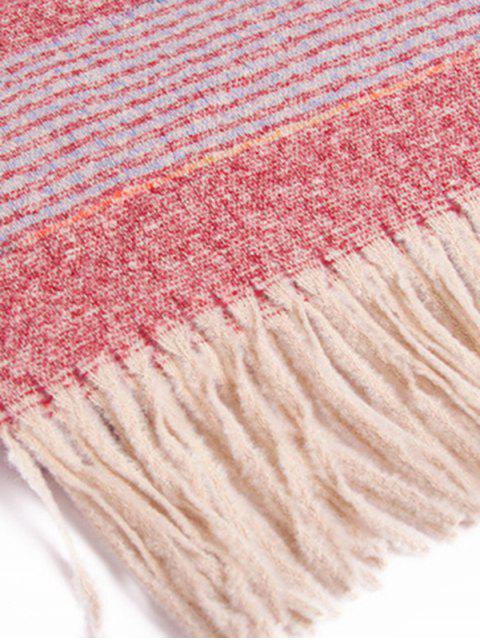 Winter Gestreifter Schal mit Fransen - Rot  Mobile