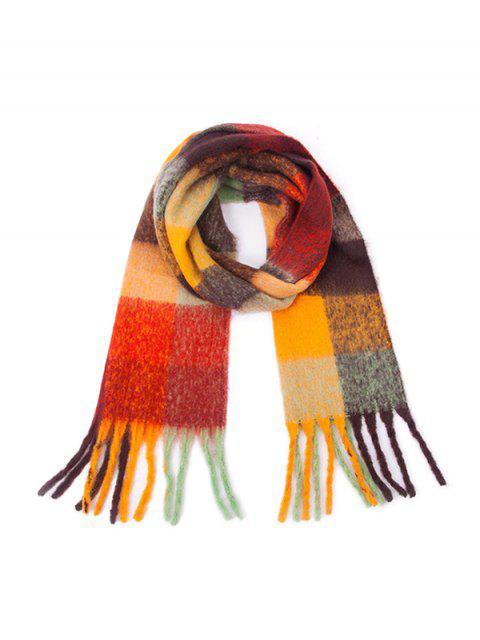 Bunte Karierte Fransen Langer Schal - Orange Gold  Mobile