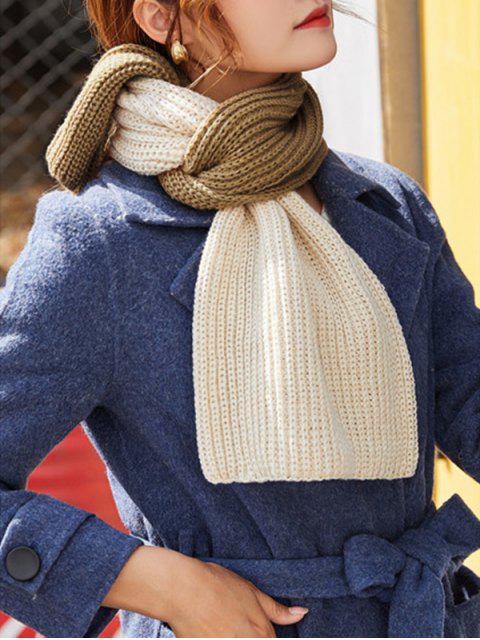 Écharpe Longue Tricotée en Blocs de Couleurs - Kaki  Mobile