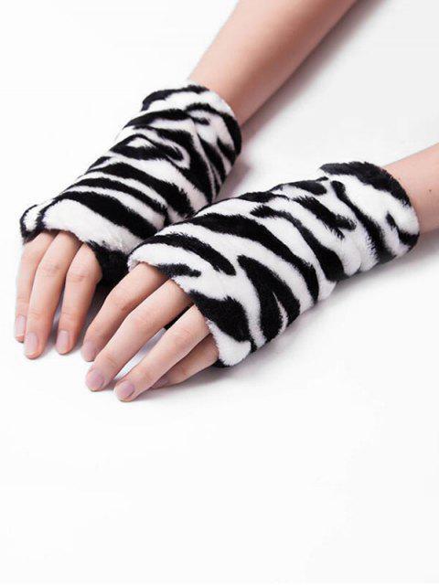 Flanell Leoparddruck Fingerlose Handschuhe - Schwarz  Mobile