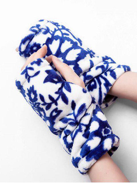 Flanell Leoparddruck Fingerlose Handschuhe - Blau  Mobile