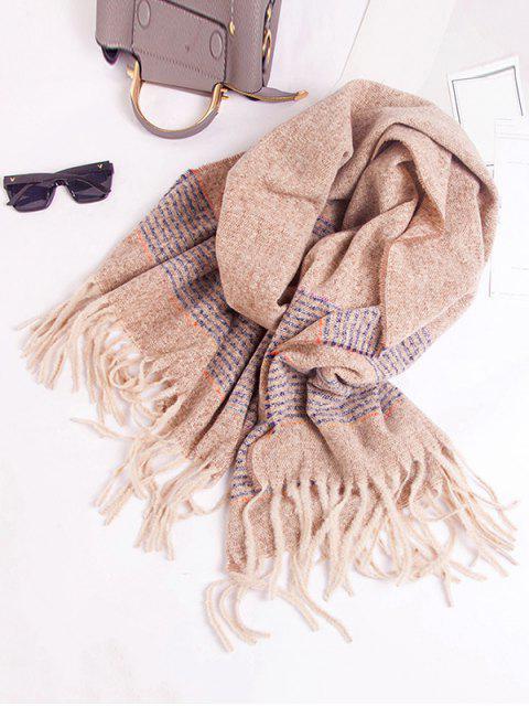 Winter Gestreifter Schal mit Fransen - Braunes Kamel   Mobile