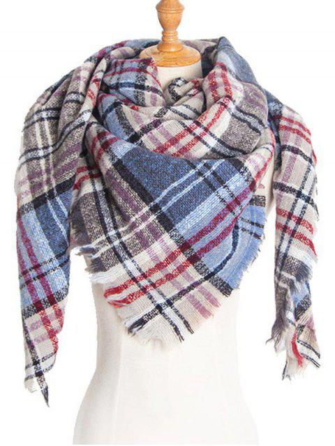 ladies Plaid Pattern Fringed Deign Scarf - BLUE GRAY  Mobile