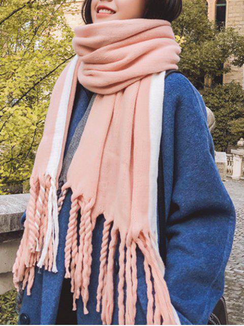Farbblock Gestreifter Verdrehter Fransen Schal - Rosa  Mobile