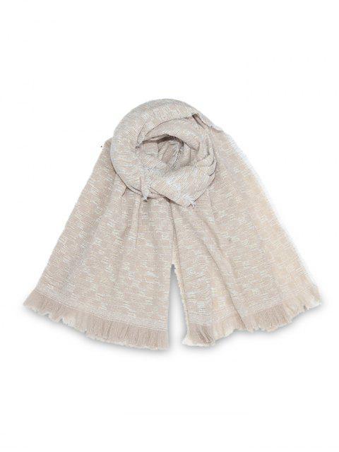 Langer Schal mit Karomuster und Quaste - Beige  Mobile
