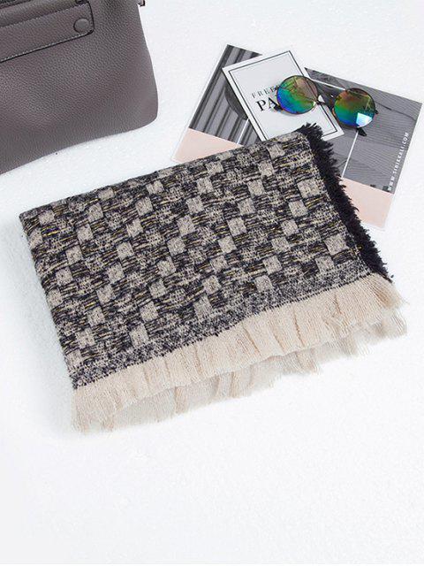 Langer Schal mit Karomuster und Quaste - Schwarz  Mobile