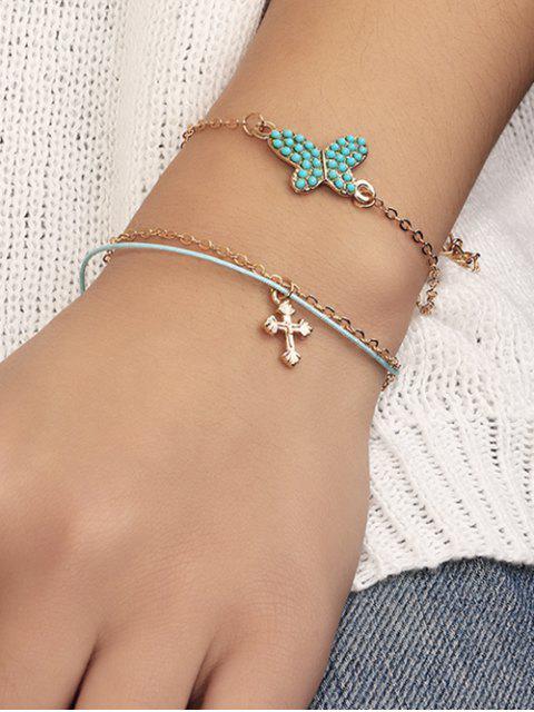 2Pcs Schmetterling Kreuze Einstellbare Kette Armbänder - Gold  Mobile