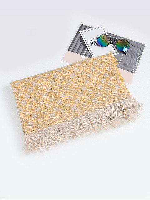 Langer Schal mit Karomuster und Quaste - Gelb  Mobile
