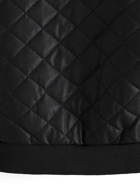 幾何印花PU拉鍊拉上夾克 - 黑色 S Mobile