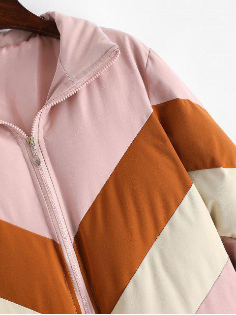 Gesteppte Mantel mit Farbblock und Reißverschluss - Rosa XL Mobile