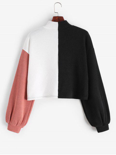 ZAFUL Farbblock Fallschulter Stehkragen Sweatshirt - Multi L Mobile