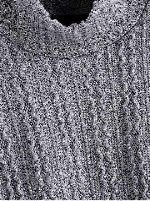 LaternenärmelEinfarbigerPullover mit Hohem Kragen - Grau S Mobile