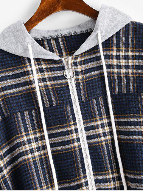 outfits Zip Up Plaid Drawstring Hoodie - MULTI-A M Mobile