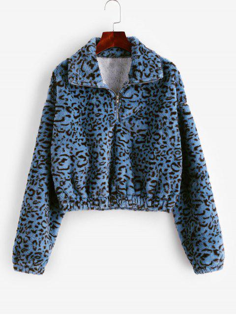 Flauschiges Sweatshirt mit Leopardenmuster und Halbem Reißverschluss - Multi-A XL Mobile