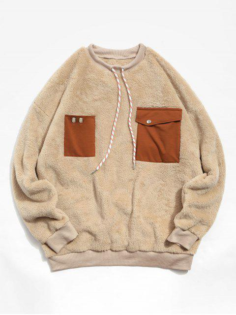 ZAFUL Colorblock Tasche Tropfen Schulter Fluffy Kordelzug Sweatshirt - Aprikose 2XL Mobile