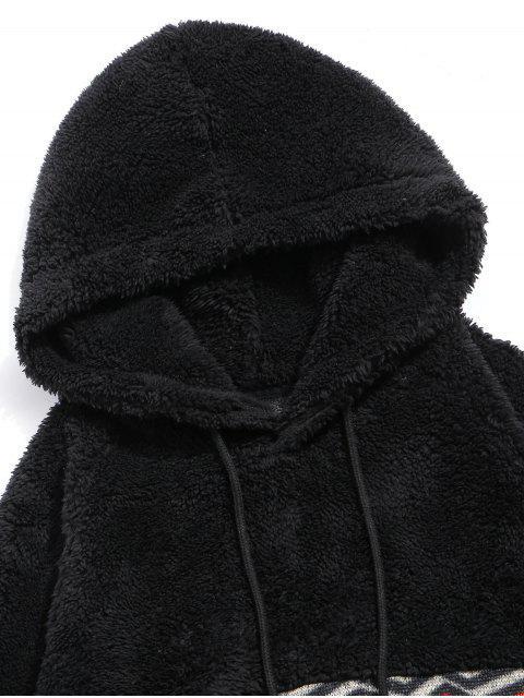Argyle Gedruckter Winter Vlies Hoodie - Schwarz 2XL Mobile