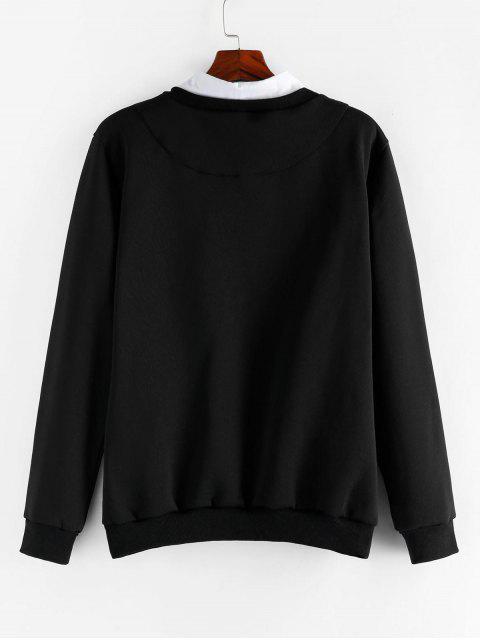 ZAFUL字母刺繡仿兩件運動衫 - 黑色 L Mobile