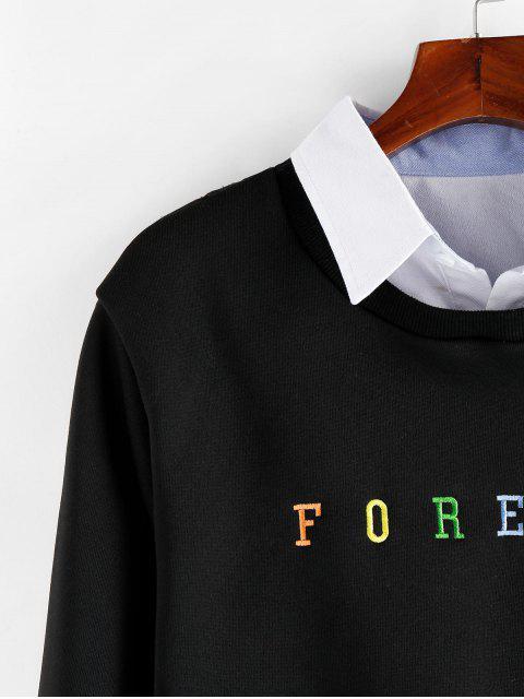 ZAFUL字母刺繡仿兩件運動衫 - 黑色 XL Mobile