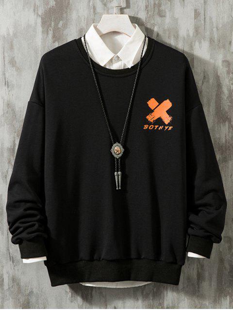 十字型圖形降肩休閒運動衫 - 黑色 L Mobile