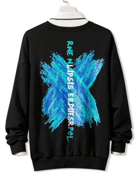 Kreuz Draped Grafik Drop Schulter Lounge Sweatshirt - Schwarz 3XL Mobile