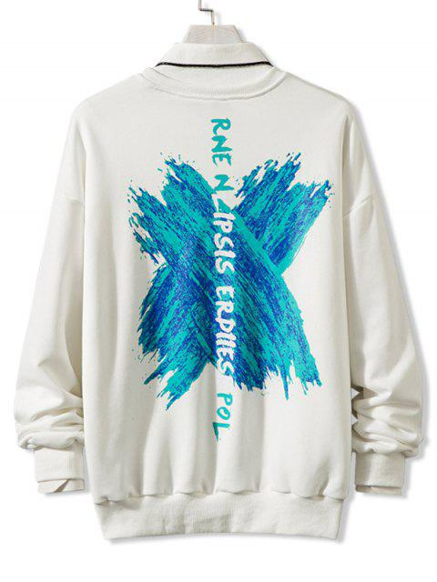 Kreuz Draped Grafik Drop Schulter Lounge Sweatshirt - Weiß 3XL Mobile