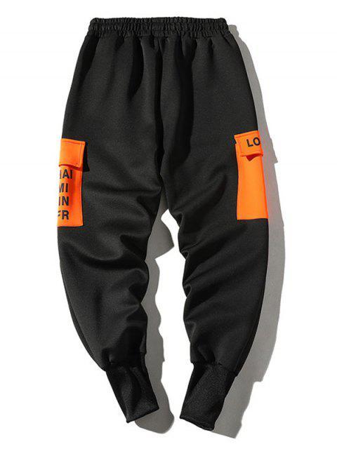 Buchstabedruck Farbblock Tasche Jogger Hose - Kürbis Orange L Mobile