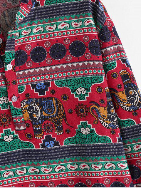 Ethnischer Elefant Druck Stehkragen Leinen Shirt - Multi 3XL Mobile