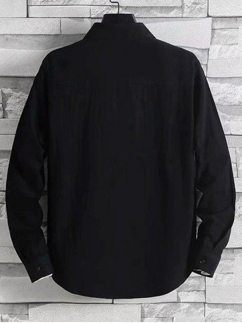 字母刺繡口袋落肩扣襯衫 - 黑色 M Mobile