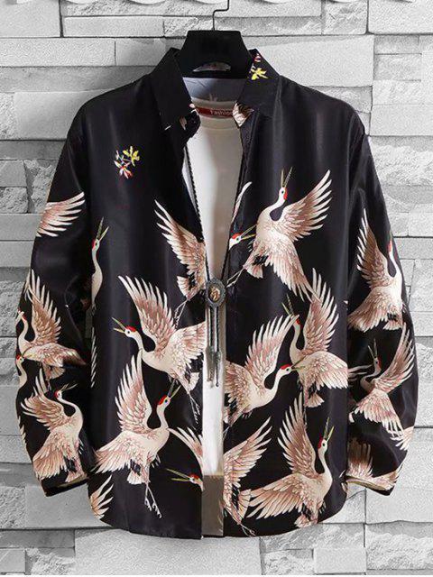 Fliegender Kran Blumen Druckknopf Langarm Shirt - Multi M Mobile